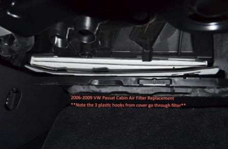 Снимаем крышку салонного фильтра Volkswagen Passat B6