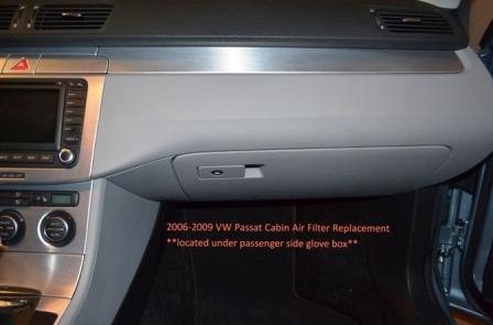 Расположение салонного фильтра Volkswagen Passat B6