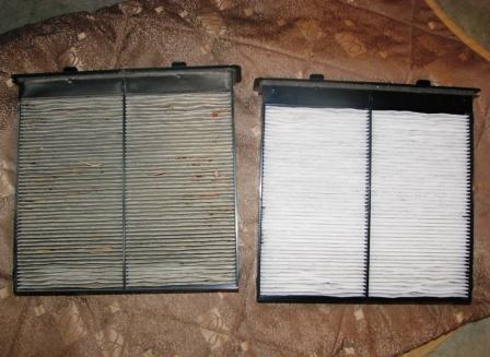 Старый и новый салонный фильтр Subaru Forester III