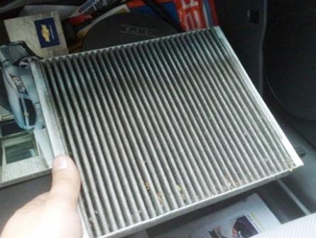 Состояние старого салонного фильтра Chevrolet Cruze