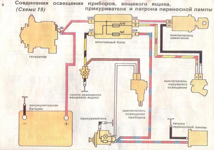 Схема подключения прикуривателя в автомобилях ВАЗ 2110, 2111, 2112