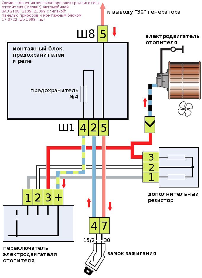 Схема отопительной системы ВАЗ 2107