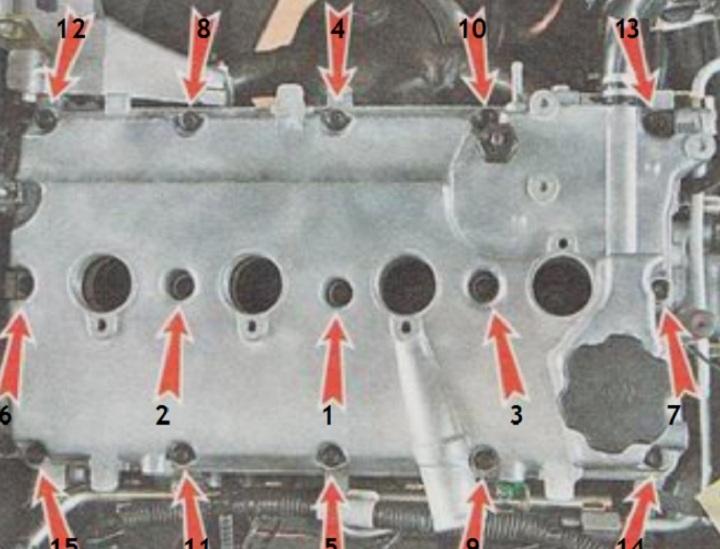 Момент затяжки болтов клапанной крышки ВАЗ 2110, 2111, 2112 16 клапанов