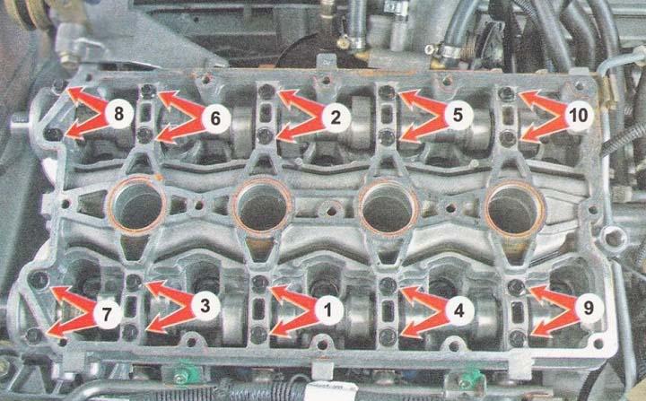 Момент затяжки болтов плиты распредвалов ВАЗ 2110, 2111, 2112 16 клапанов