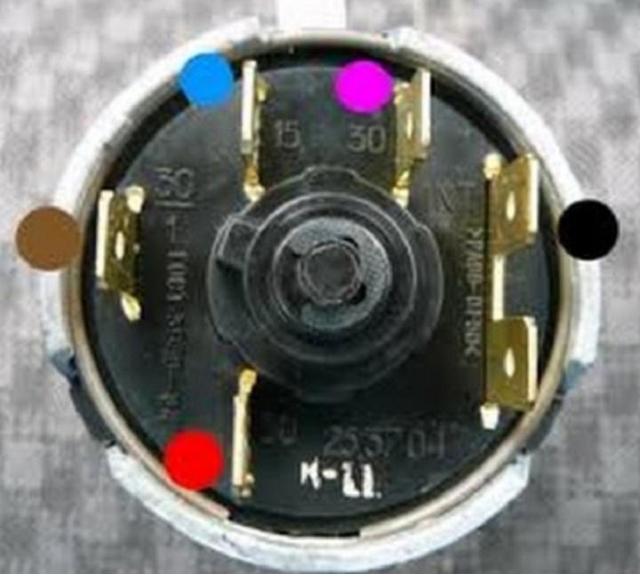 Подключение контактной группы замка зажигания ВАЗ 2106