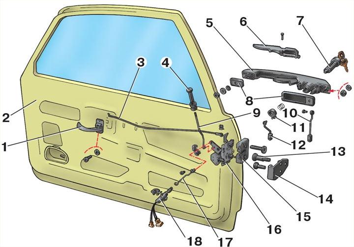 Конструкция двери ВАЗ 2113 2114 2115 - как заменить личинку замка своими руками