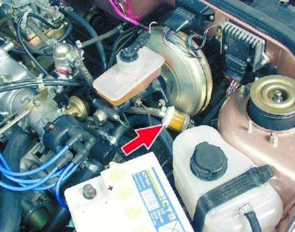 Место расположения топливного фильтра ВАЗ 2108, 2109, 21099
