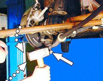 как выбить шаровую без съемника