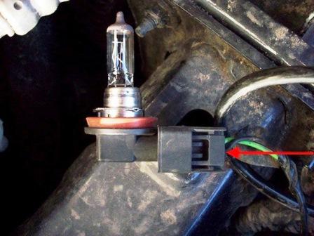 как заменить лампу противотуманной фары на киа рио